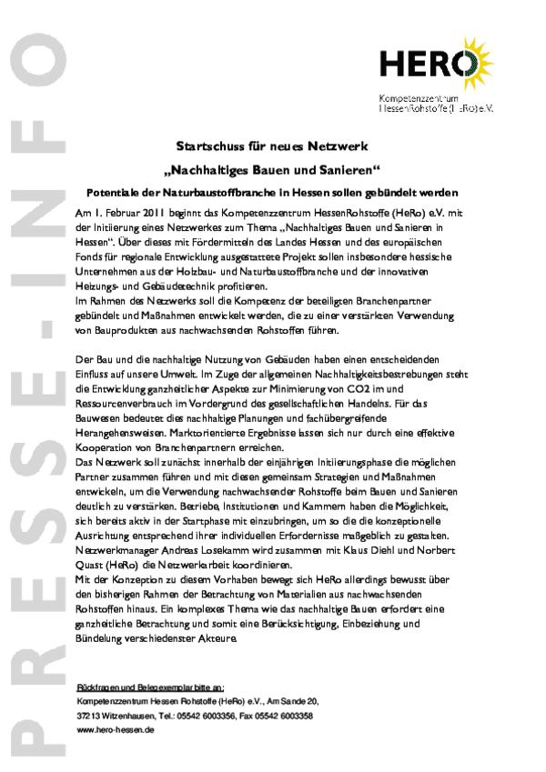 """Presse-Info: Neues Netzwerk """"Nachhaltiges Bauen und Sanieren"""""""