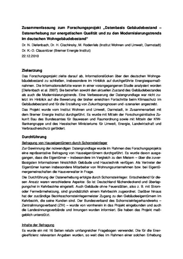 """Zusammenfassung Forschungsprojekt """"Datenbasis Gebäudebestand"""""""