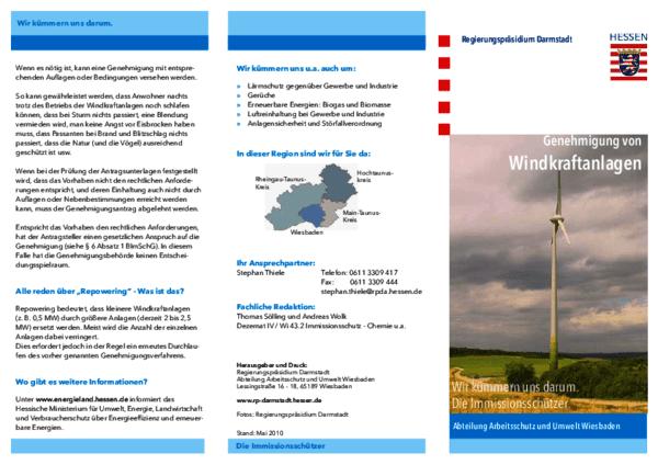Flyer Genehmigung von Windkraftanlagen