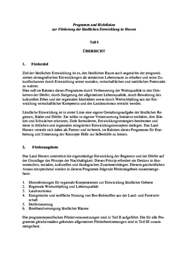 Richtlinien zur Förderung der ländlichen Entwicklung in Hessen
