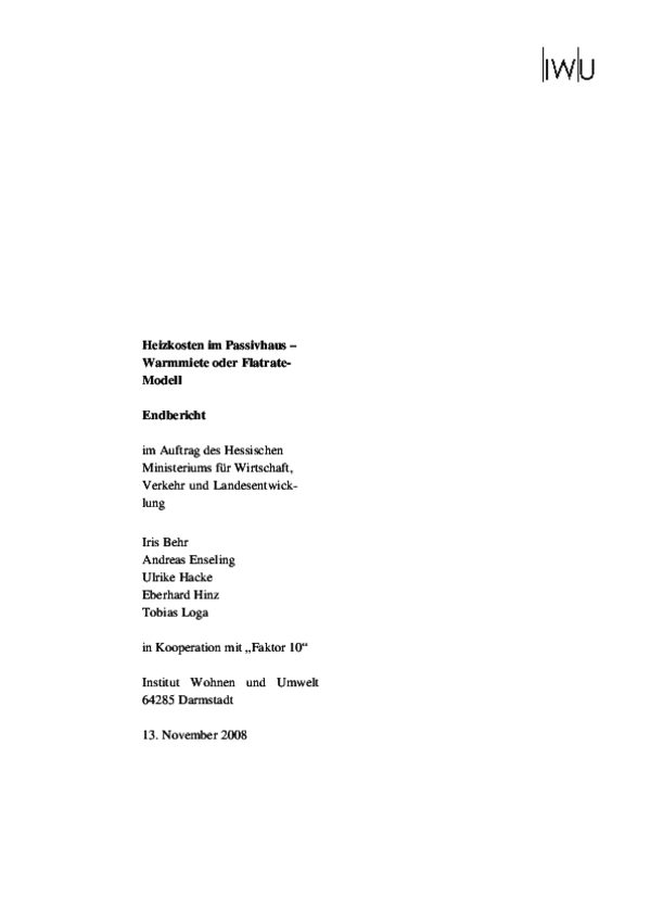 Endbericht Heizkosten im Passivhaus 2008