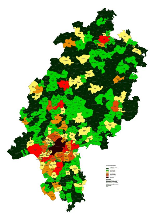 Wärmesenkenkarte Hessen