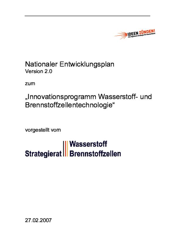 """Nationaler Entwicklungsplan zum """"Innovationsprogramm Wasserstoff- und  Brennstoffzellentechnologie"""""""